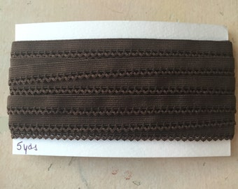 "Brown Zigzag Pointy Edge Elastic Lace Trim 1/2"" wide, 5 yards"