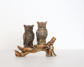 Vintage Silver Plate Owl salt and pepper shakers - made in Japan