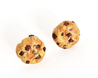 Chocolate Chip Cookie Earrings - Food Jewelry, Scented, Food Earrings