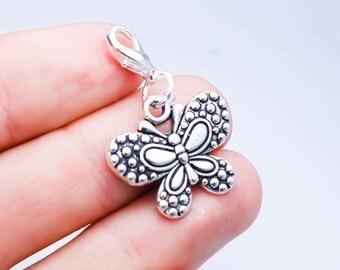 Butterfly Charm. Cute Butterfly Bracelet Charm. Silver Clip On Charm. SCC601