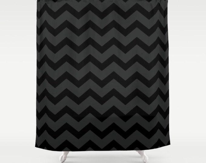 Black and Grey Chevron Shower Curtain - Black Shower Curtain - Dark Grey Bathroom Decor - Made to Order