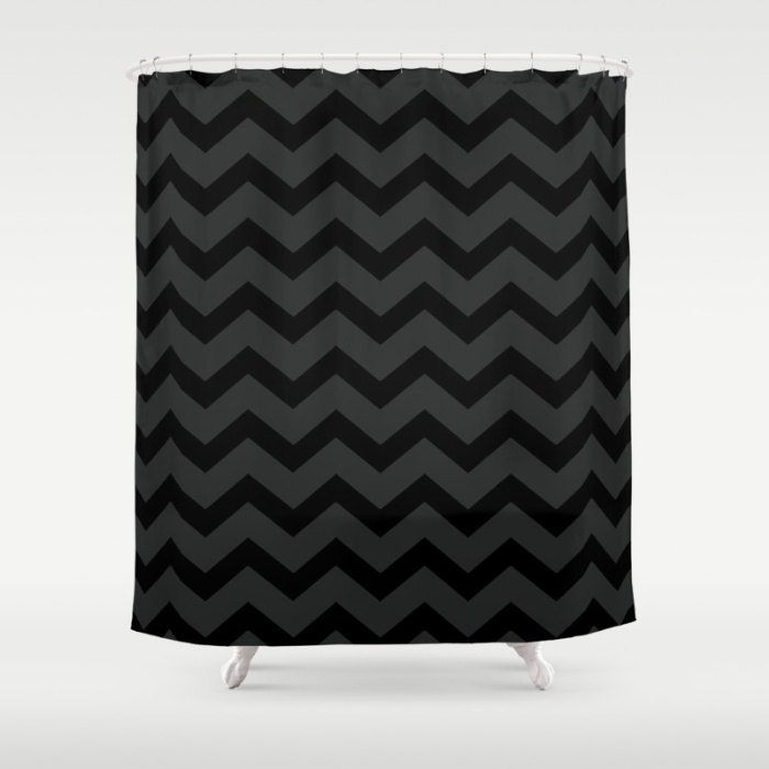 Black And Grey Chevron Shower Curtain Black Shower Curtain