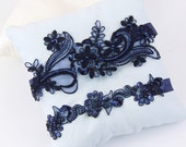 Navy Beaded Lace Garter Set, Bridal Navy Garter, Wedding Navy Garter, Prom Garter Belt,Light Gold Wedding Garter, Toss Garter