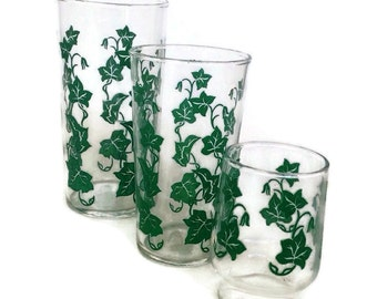 Vintage Federal Glass-Southern Ivy-3 Sizes-Glassware-1940's-Green Ivy Decal-Juice Glass-Tumblers-Vintage Kitchen-Home Decor-Depression Glass