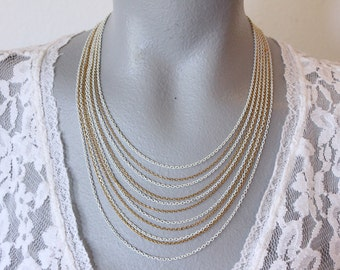 Crown Trifari Gold Tone and White Enamel Multi Strand Chain Necklace (vintage retro 50s 60s signed dainty pretty delicate fine)