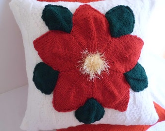 Poinsettia Knitted Pillow Cover, Christmas Flower Knit Throw Pillow, Decorative Pillow, Christmas Decoration Cushion Cover, Couch Pillow