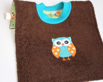 Waterproof Towel Bib - Brown with Teal and Orange Owl - Over the Head Bib with PUL on back