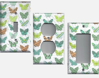 Newspaper Butterflies in Lime Green Teal and Orange Light Switchplates and Wall Outlet Covers Home Decor Butterfly Light Switch Covers