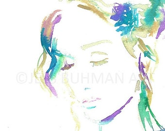 ON SALE Gratitude Painting, Gratitude Print, Watercolor Print of Portrait, Watercolor Woman, Painting for Her, Art for Her, Abstract Art, Fi