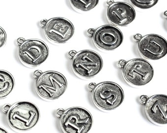 Round Alphabet Charms, Silver Toned, Typewriter Font Letters, A-Z - 26 pieces