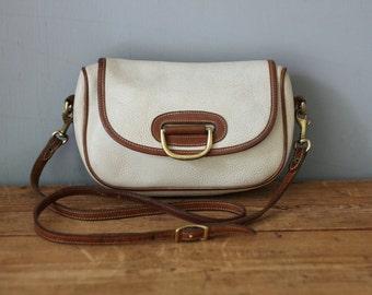 DOONEY and BOURKE Small Horseshoe Crossbody Shoulder Bag / Vintage Dooney and Bourke Cream Porthole Clutch Handbag