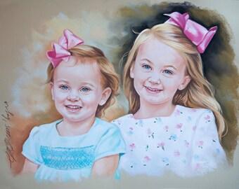 Double Pastel portrait, sisters portrait