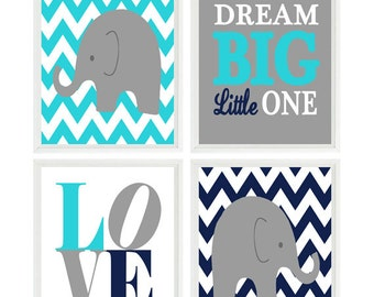 Elephant Nursery Art, Baby Boy Nursery, Chevron Print, Gray Aqua Navy Nursery, Wall Art, Love Print, Dream Big Little One, Nursery Decor
