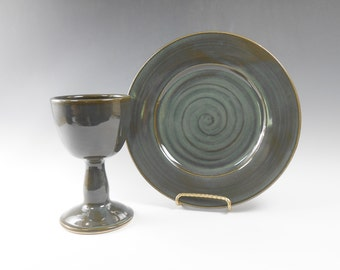 Ceramic communion set - chalice and paten set - dark green communion set - liturgical ware - communion ware W189