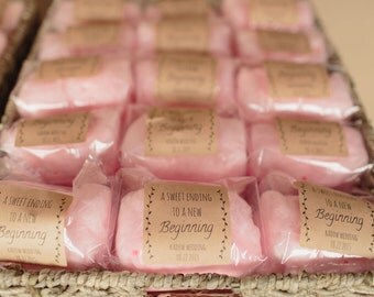 24 Small Cotton Candy Party Favors with Custom Labels