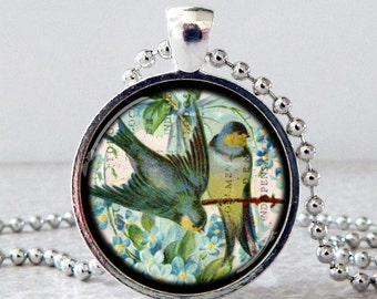Bird Necklace, Bird Pendant, Swallow Necklace, Swallow Pendant, Vintage Bird Jewelry, Mother's Day Gift, Spring Jewelry, Glass Art Pendant