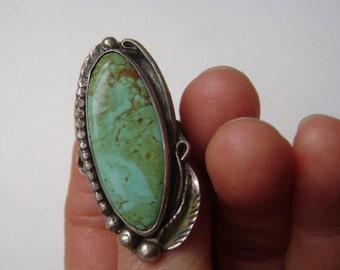 large turquoise ring, signed S.E.Lee, size 8.5