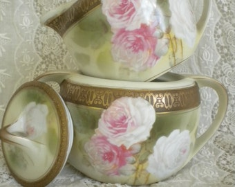 R. S. Germany / Signed Reinhold Schlegelmilch Tillowitz / Roses and more Roses! / Art Deco Gold Edge Cream & Sugar Set