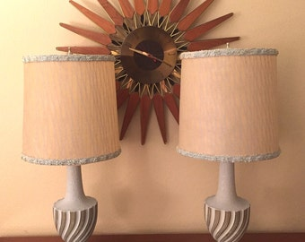 SALE! Pair of Mid Century Modern Lamps with original Diamond Graphic Fiberglass Shades by F.A.I.P.