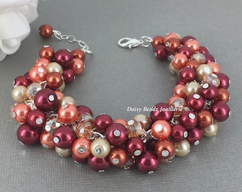 Burnt Orange Red and Champagne Bracelet Fall Wedding Jewelry Bridesmaids Jewelry Cluster Bracelet Burnt Orange Bracelet
