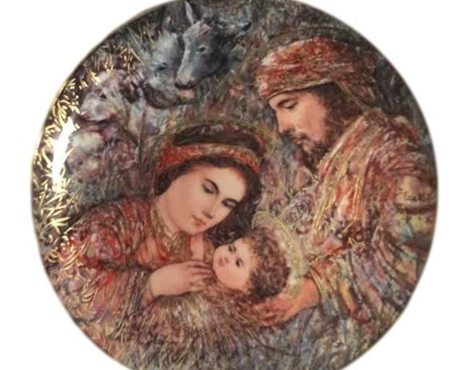 Edna Hibel Annual Christmas Plate, NATIVITY, Knowles Vintage Boxed Plate, Holiday Decor