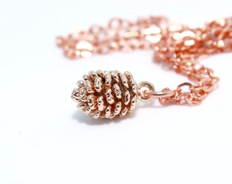 Pine Cone Necklace, Rose Gold Necklace, Fall Necklace, Autumn Style, Rustic Necklace, Christmas Gift, Rose Gold Pendant, Fall Jewelry