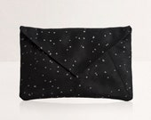 Envelope Clutch Bag - Black and White Confetti Spots Print Clutch Purse from Vegan Suede with Removable Strap. Shoulder Evening Bag