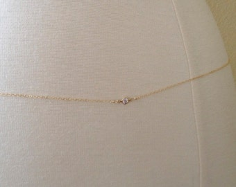 14k Gold Filled CZ Belly Chain, Gold Body Chain, Belly Chain, Gold Body Chain