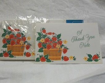Vintage American Greetings Thank You Cards with Note Inside, Set of 6 with Envelopes,circa 1981, 317T