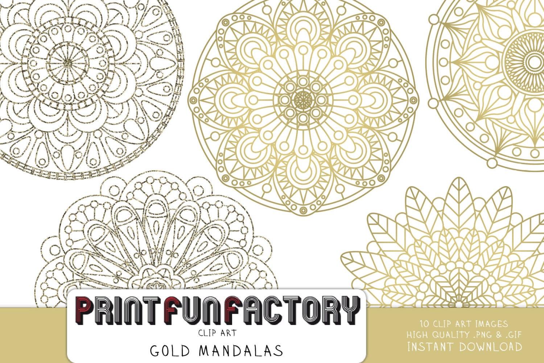 Mandala Digital Clip Art Gold & Glitter Mandalas INSTANT