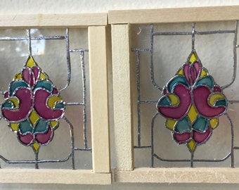 "Dollhouse Miniature Set of Stain Glass Windows  1"" scale"