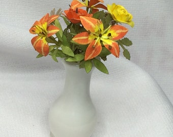 Dollhouse Miniature Orange Floral Arrangement in White Vase
