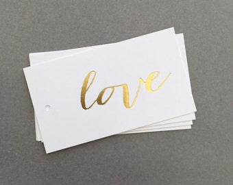 Gold foil gift tags, love, Gold love Gift Tags, Gold Foil Wedding Favour Tags, Real Foil