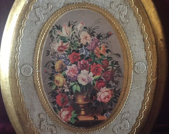 Country Romantic Shabby Chic Victorian Rose bouquet italian Florntine Picture