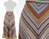 Vintage 1970s Women's Trim A-Line Skirt with Fringe / Boot Skirt / Hippie Skirt / Boho Skirt
