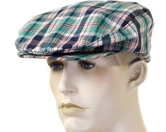 Vintage 1960s Pen West Plaid Newsboy Cap by Pendleton - Size Large - Cotton Golf Cap