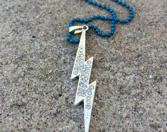 Large Silver Toned Lightning Bolt with Rhinestones Pendant on Blue Ball Chain Necklace Glam Harry Potter Inspired Necklace