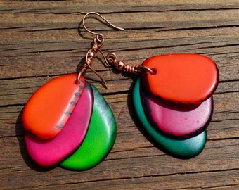 Orange, Magenta and Green Brazilian Nut Beaded Earrings