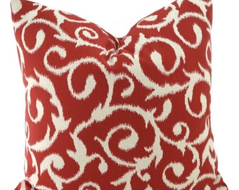 Red & Off White Ikat Throw Pillow Cover, 20x20, Woven Red and White Vine Print Pillow Cover, Red Ikat Pillow Cover