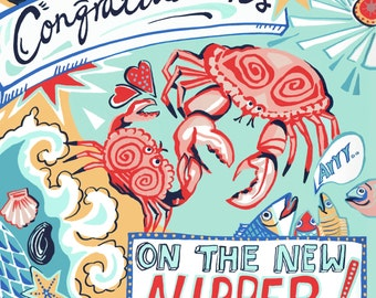 "Baby congratulations card for boy or girl ""Congratulations on the new nipper!"" design"