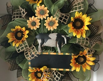 Sunflowers & Cow with Chalkboard Sign...Deco Mesh Wreath
