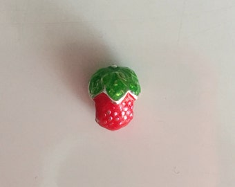 Strawberry Enamel European Bead Charm..add-a-bead..for bracelet or necklace..gift