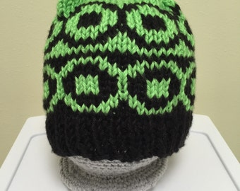 Bright Green and Black Knit Hat