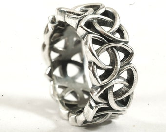 Celtic Ring With Trinity Knot Design in Sterling Silver, Made in Your Size CR-519