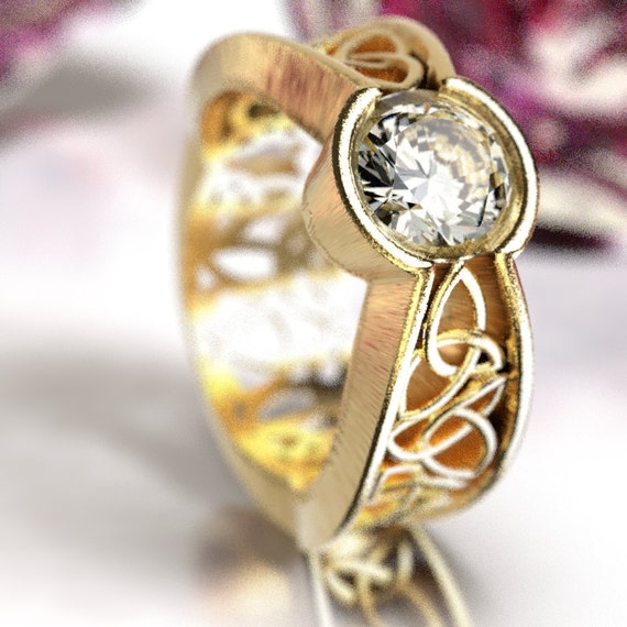 Celtic Moissanite Ring With Trinity Interweave Knot Design in 10K 14K 18K Gold Palladium or Platinum, Made in Your Size 251