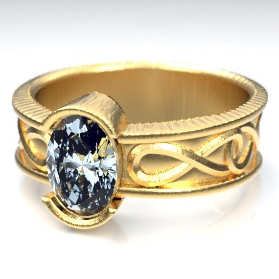 Gold Celtic Wedding Ring With Moissanite and Infinity Symbol Design in 10K 14K 18K or Palladium, Made in Your Size Cr-312