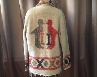Vintage 1970s Love Birds XO Cream Wool Embroidered Shag Fringe Hippie Boho Festival Quilted Pocket Brown Gray Sweater Dress Jacket Coat M L