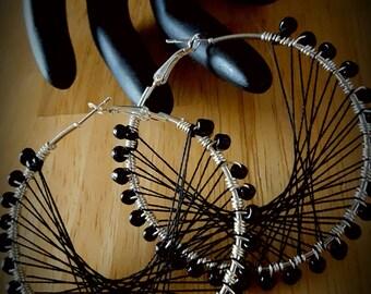 Black Beaded Peruvian Thread Hoop Earrings