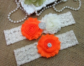 SALE -Orange Wedding Garter Set, Country Chic Wedding Garter Set, Wedding Accesoories