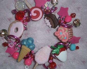 Desert bracelet/ Cotton candy/ Cupcake/ Donut/ Ice cream/ Bracelet/ Beadiebracelet